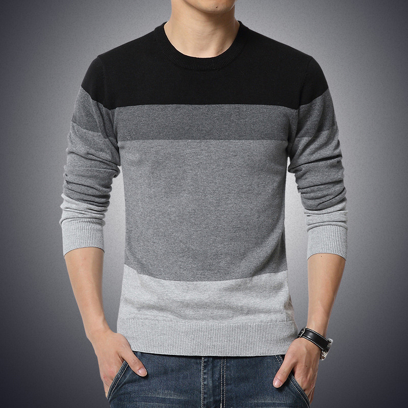 Casual Men's Sweater O-Neck Striped Slim Fit Knitwear Autumn Mens Sweaters  Pullovers Pullover Men Pull – Moon Ray Shop